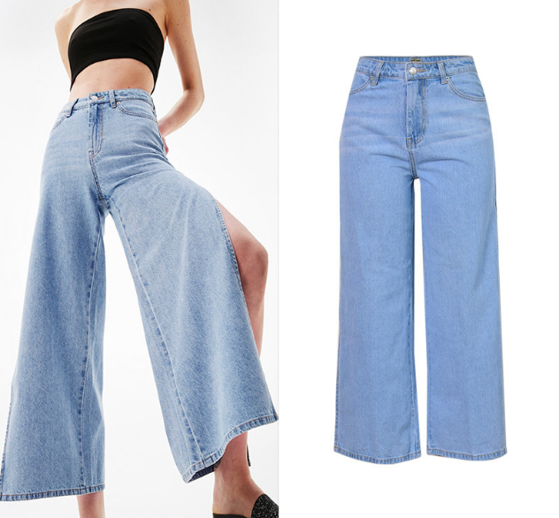 Women's Cropped Denim Pants High Waist Double Sided Split Pantskirt Loose Wide Leg Jeans women