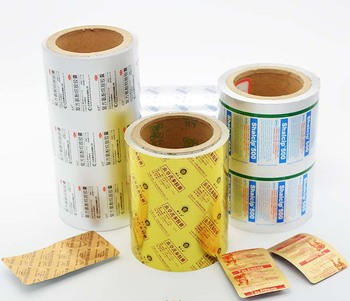 Roll type of gold printed ptp aluminum foil for pharmacy industry to pack pills capsules
