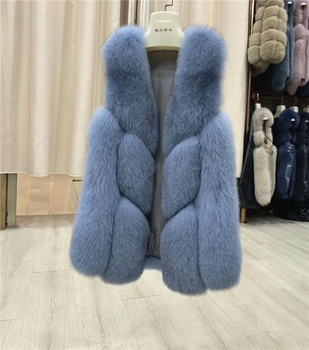 New Winter Jackets Women Long Fox Fur Vest Natural Fox Fur Tops Fashion High Street Style Casual Fur Vests