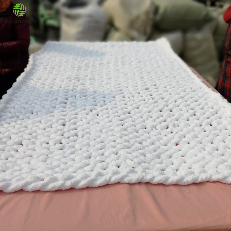 Amazon Choice's factory 0.1s 2-2.5cm polyester thick chunky micro chenille  jumbo yarn hand knitting hat rug plaid throw blanket