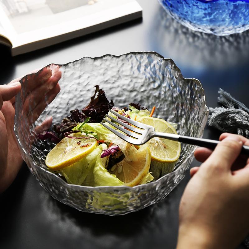 New arrivals home goods stylish large size glass fruit salad serving bowls