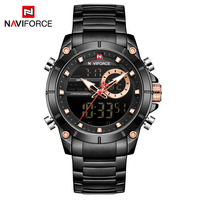 NAVIFORCE 9163 Top Brand Men Military Sport Watches Mens LED Analog Digital Watch Male Army Stainless Clock Relogio Masculino