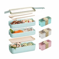Fashion Natural Environment Wheat Straw Lunch Box 3 Layer Fork Spoon Lunch Box