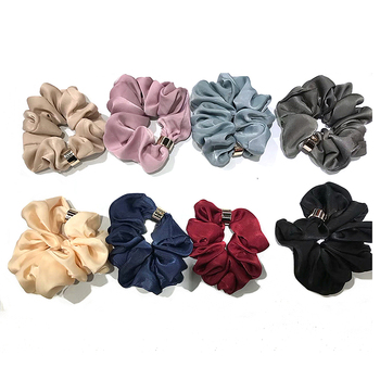 High quality custom colors soft man-made silk fabric elastic hair tie hair scrunchies with metal ring