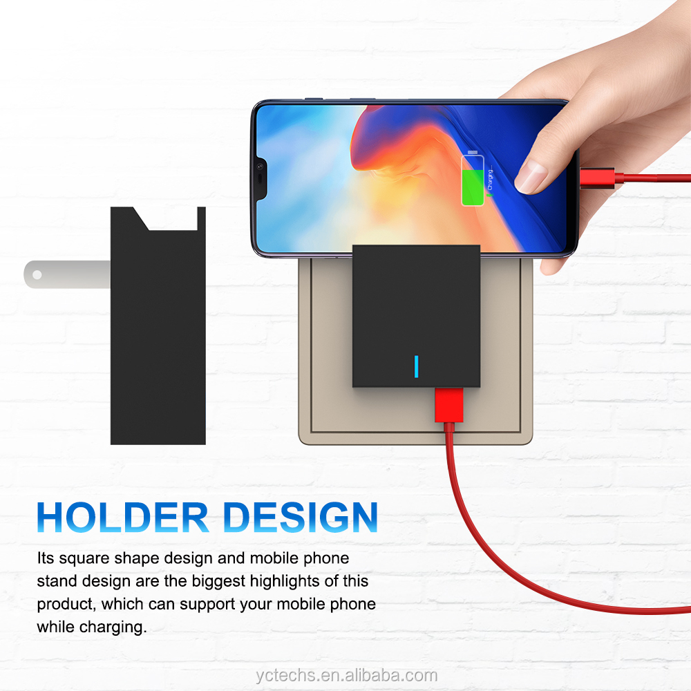 23w QC 3.0 fast charger for samsung unique design hot sale phone stand wall charger oem dual usb charger