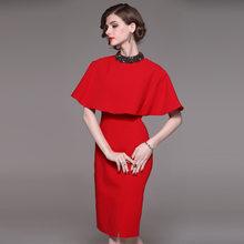 Женский офисный костюм из двух предметов, красный деловой плащ, Блейзер, платье-карандаш(Китай)