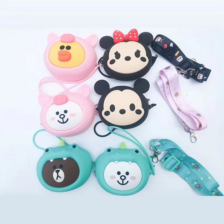 Animal Custom Fancy Rabbit Face Cute Silicone Coin Purse Handle Pouch Bear For Kids Key Phone Makeup Heart Bag For Girls