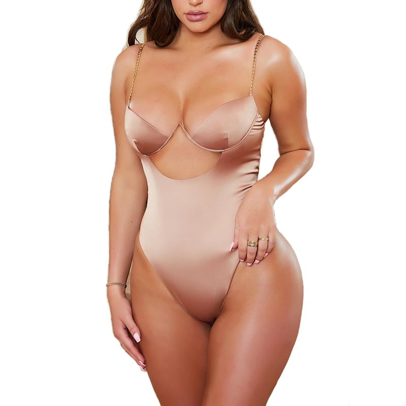 उच्च गुणवत्ता धातु श्रृंखला के लिए तंग साटन वि गर्दन सेक्सी Bodysuit महिलाओं