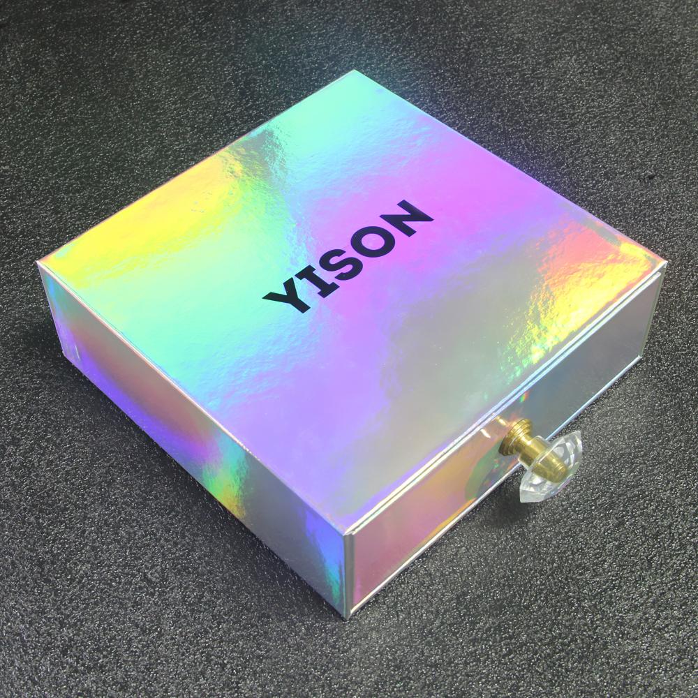 Özel lüks koli kare sürgülü çekmece holografik kutu ambalaj cüzdan kemer