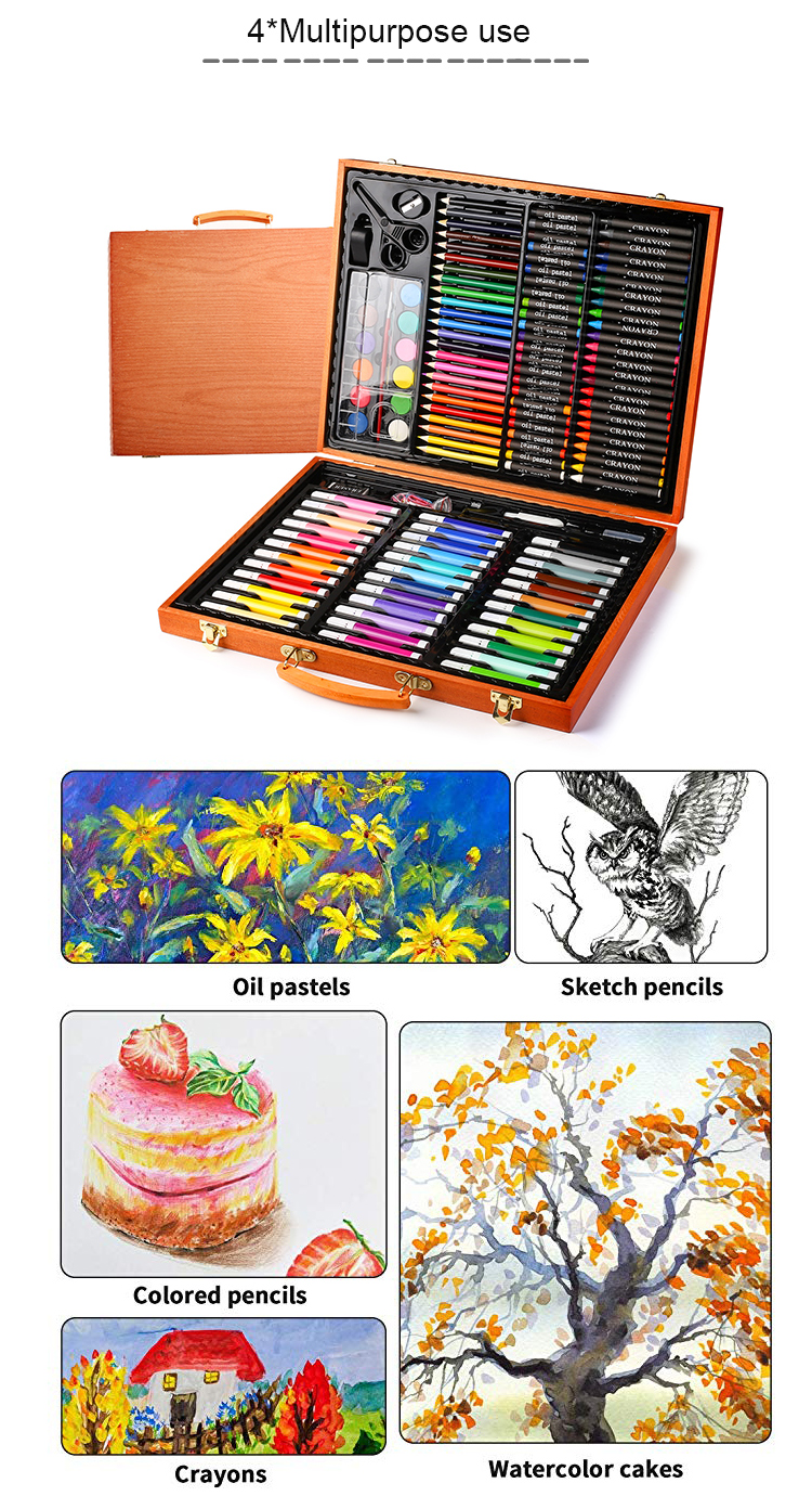 Artist supplies portable case150 piece watercolor pencil acrylic oil kid deluxe art set kit for drawing painting