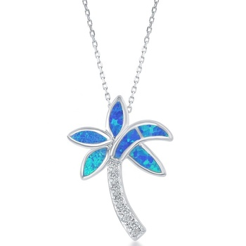 Hawaii Style 925 Sterling Silver Jewelry Sea Life Pendant Palm Tree Necklace Blue Fire Opal Pendant