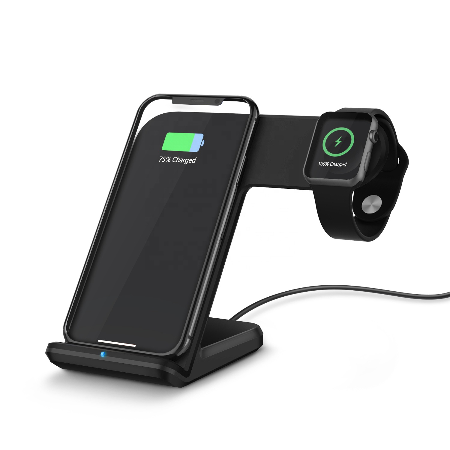2 in 1 Fast Wireless Charging Stand with Magnetic iWatch Charging and Mobile Phone Wireless Charger for iPhone 11 Pro/XS Max/XR