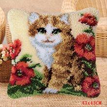 Smyrna Подушка с крючком, милый ковер в форме кошки, вышитый ковер, подушка, посылка с кнопками, набор крючков для крючков, knoopkussen Do-It-Yourself(Китай)