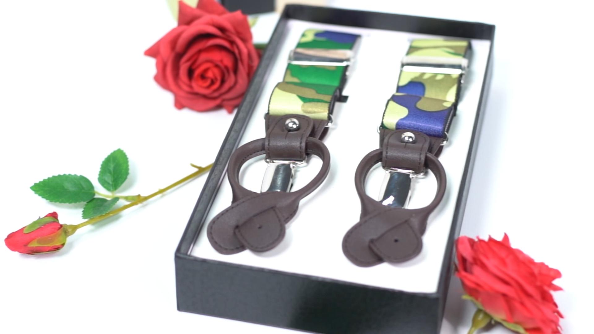 classic custom mens pure black color 4 clip adjustable elastic suspenders