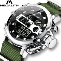 2020 Watch Men MEGALITH Top Brand Luxury Sport Chronograph Waterproof Watch Men Black Leather Strap Clock For Man Relojes Hombre