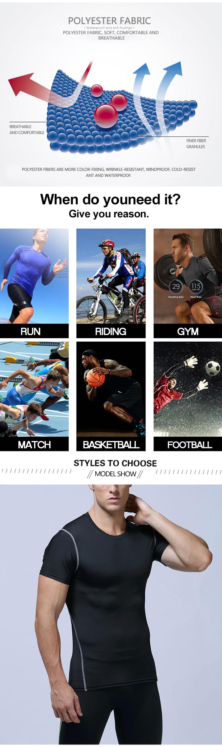 Kustom LOGO Pria Olahraga T Kemeja Pria Kulit Ketat Pakaian Olahraga Pria Pakaian Olahraga Desain Fashion