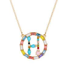 Изящное круглое ожерелье с подвеской в виде букв, женское персонализированное ожерелье с именем, Золотое ювелирное изделие, золотая цепочк...(Китай)