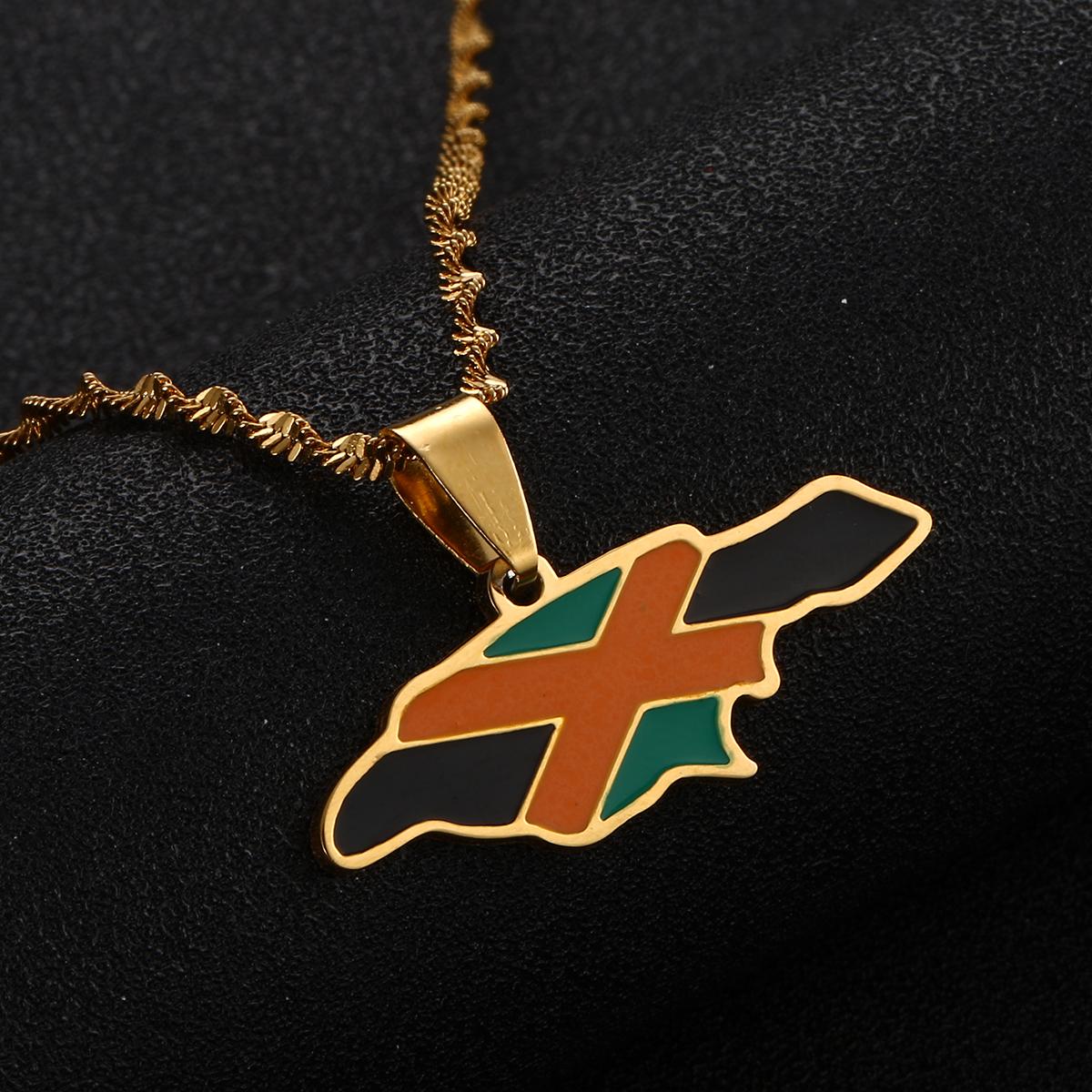 Bandera de Jamaica Mapa Collar de Cadena Colgante De Oro
