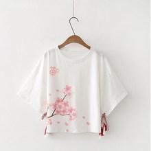 Укороченная женская футболка с японским цветочным принтом Kawaii Cat, белые короткие футболки для женщин 2020, летние повседневные милые модные ж...(Китай)