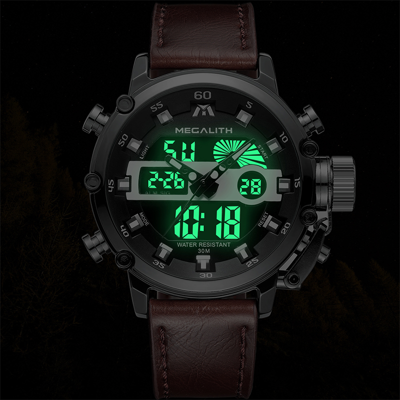 MEGALITH homens Da Moda LED Esporte Quartz Homens Relógio Multifuncional Luminosa À Prova D' Água Data Relógios de Pulso Homens Relógio Horloges Mannen