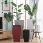 Large indoor white plastic giant planter smart plants self watering pot flower pots for livingroom