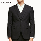 Hot sale formal wear 3 pieces blazer+vest+pant fit suits set for men
