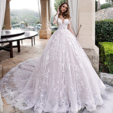 Платье для свадьбы с длинным рукавом Ashley Carol, кружевное, романтичное, с аппликацией(China)