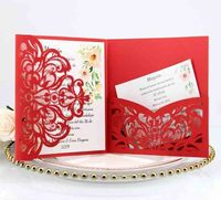 Professional Luxury Nordic Rectangle Business Letter Wedding Paper Cut Invitation Card