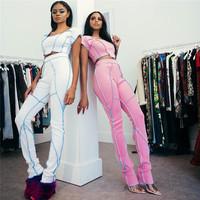C93150 women crop top two piece set fashion clothing for women 2020 women two piece outfits