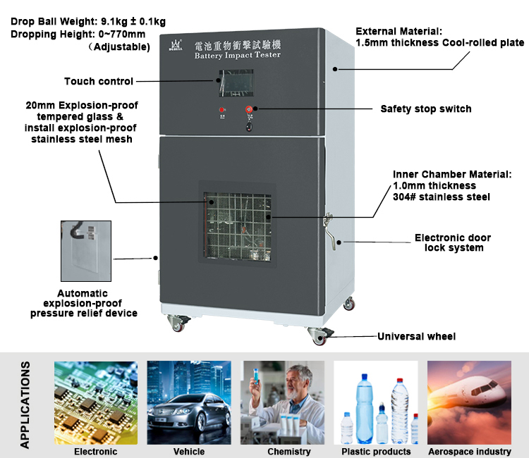 Heavy Impact Test Chamber for Lithium Ion Battery Safety Test