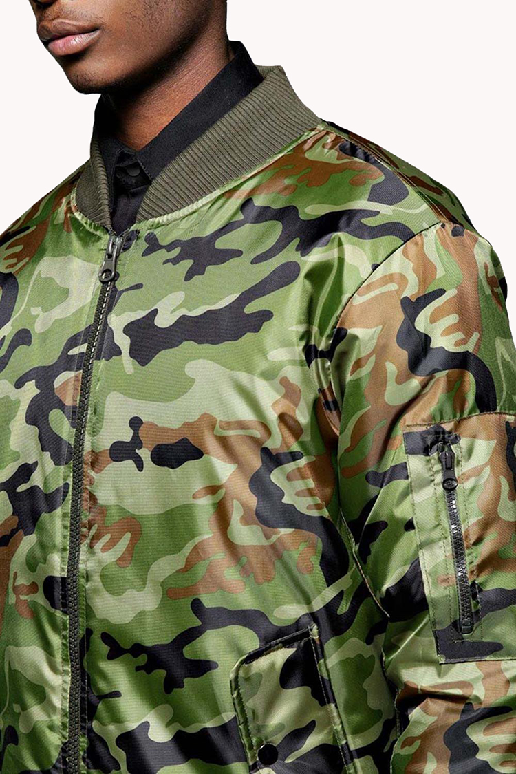 Custom 100% Polyester Soft And Comfortable Camo Bomber Jacket For Men