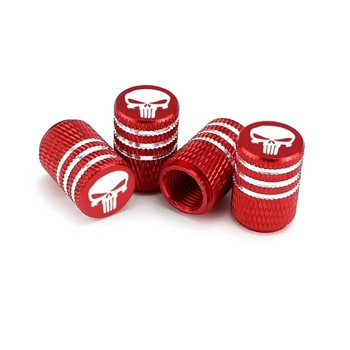 Round Style Air Covers Red Aluminum Car Tire Valve Stem Caps
