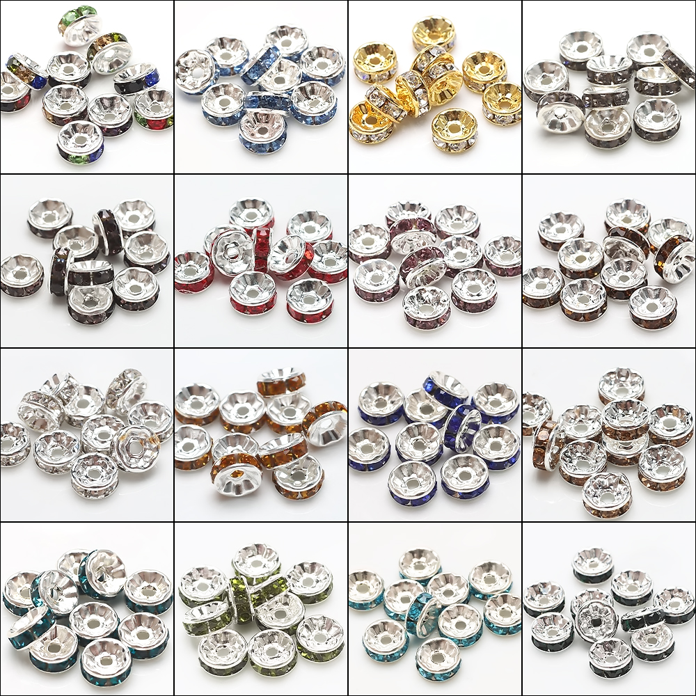 Zircon Alloy Spacer Beads For Jewelry Making 12mm Metal Loose Beads For Bracelets Necklace DIY Charms Jewelry Findings 10pcs/bag