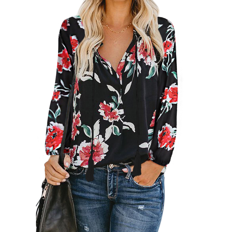 Women Floral Print Peasant Blouse Long Sleeve Floral Print Shirt, Customized