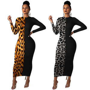 New Coming Customized Fashion Sexy Retro Women Patchwork Dress Leopard Print Party Wear Long Sleeve Bodycon Dresses In China