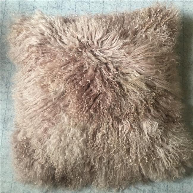 Pink cover soft long hair fur cushion