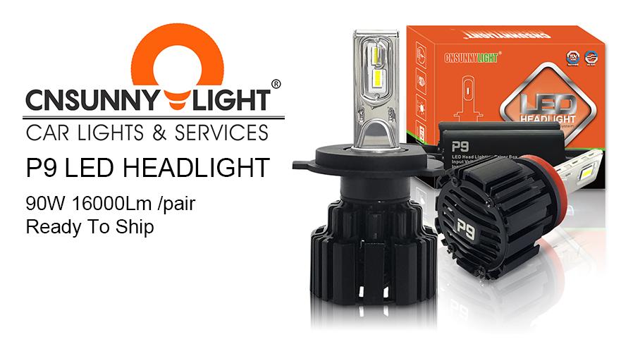 P9 süper parlak 90W 16000Lm LED far ampulü H4 H7 H11 9005 9006 9012 H13 9007 9004 6000K beyaz aydınlatma otomatik kafa lambaları