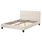 Fabric Bed Modern Latest Design Home Furniture White Fabric Upholstered Wooden Panel King Size Queen Bed Frame
