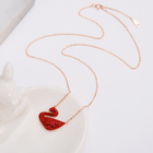 Factory wholesale S925 silver inlaid zircon red goose necklace female new temperament clavicle chain