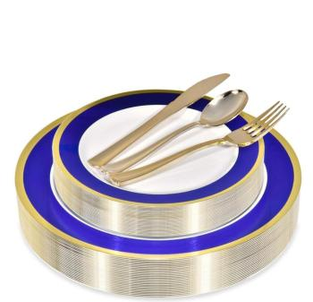 Blue and Gold Rim Elegant Plastic Plates with Gold Plastic Silverware Plastic Party Dinnerware for Anniversary, Bridal Shower