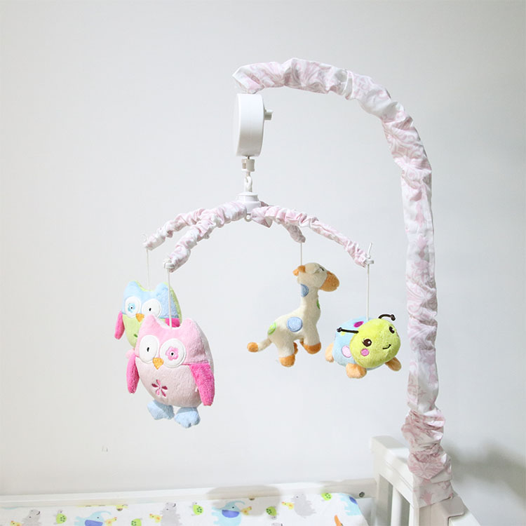 Wholesale OEM Cartoon Owl Animal Baby Bedding Crib Musical Mobile With Hanging Plush Toys