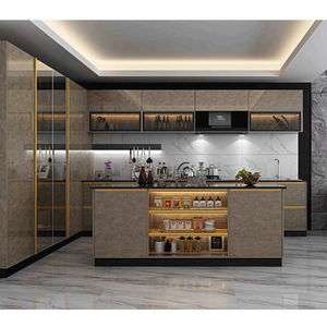 Xinzhijia Factory European Modern Design Durable MDF Kitchen Cabinets and Cupboards with countertops