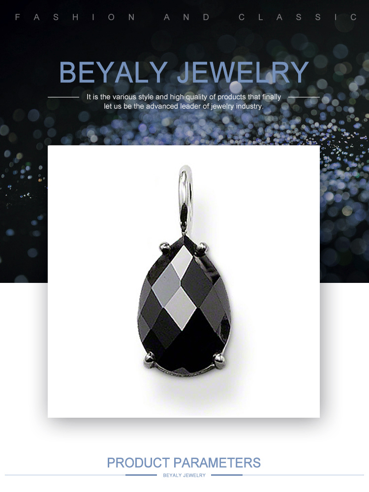 product-BEYALY-Black Obsidian Water Drop Silver Jewelry Statement Necklaces For Women-img