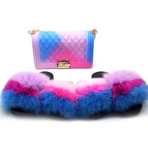 2019 buchuan wholesale 3 pieces mommy and me furry slippers with purse set matching color candy clear purse with fox fur slides