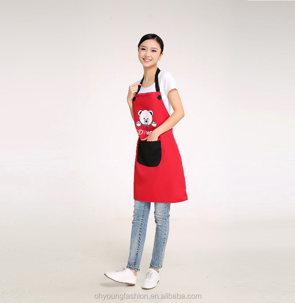 Cheap bulk wholesale kitchen aprons custom logo printed  waterproof spandex-cotton slim fit kitchen apron