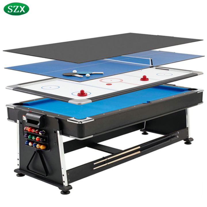 SZX 7ft cheap 3 in 1 multi game pool table with pool ,air hockey,tennis table for kids and adult