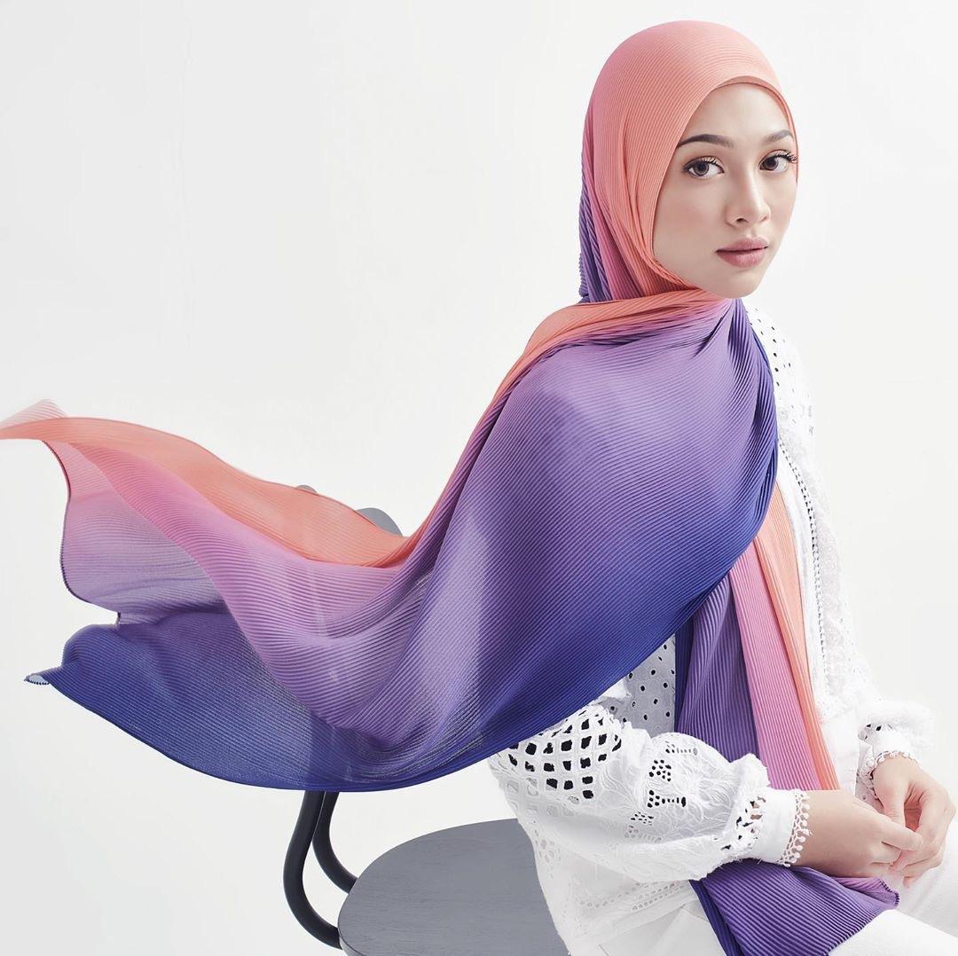 Venda quente mulheres muçulmanas hijab ombre plissada feminino gradiente xale enrugada lenço de chiffon