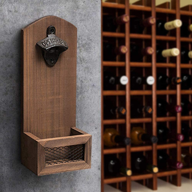 2020 new idea hot sale wood wall mounted bottle opener with catcher