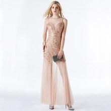 Женское вечернее платье с блестками YIDINGZS, черное, золотистое длинное платье с бисером, YD919(Китай)