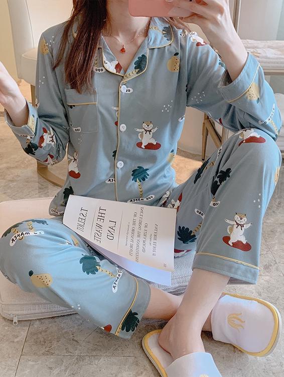 숙녀 nightwear 긴 소매 폴리 에스테르 숙녀 만화 잠옷 저렴한 가격 여성 잠옷 세트 잠옷